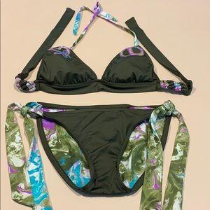 Lucky Brand moss green 2 piece bathing suit S